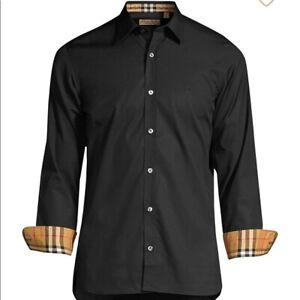 Black men's burberry william long sleeve button down shirt  s m xl 2xl