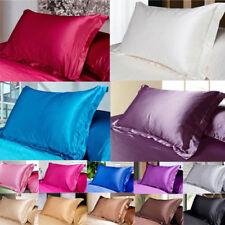 Queen/Standard Silk Satin Smooth Pillowcases Bedding Pillowcase SOLID COLOR HOT