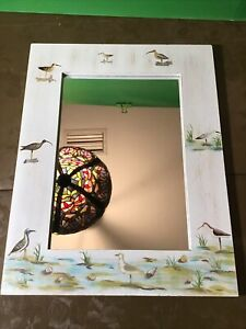 Vintage 1999 11 X 14 Wood Framed Beach Theme Mirror, Nautical, Birds
