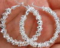 "womens 1.5"" hoop earrings flake cut 925 sterling silver lever back"