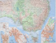 1958 LARGE MAP AUSTRALIA SOUTH EAST VICTORIA NEW SOUTH WALES TASMANIA SYDNEY