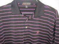 Peter Millar Golf Polo Shirt Summer Comfort Men's Sz L Black w/ Pink Stripes