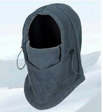 GREY NECK WARMER HOODY HOODS WINTER WARM FLEECE CAMOUFLAGE SKI BEANIE HAT CAP