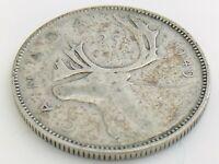 1949 Canada Twenty Five 25 Cent Quarter Silver Circulated George VI Coin K156