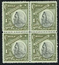 CHILE 1908 STAMP # 79 MNH VERDE SIN BRONCE BLOCK OF FOUR COLUMBUS