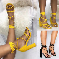 Women Ankle Strap Lace Up Tie Strappy Sandals Block High Heels Lady Party Shoes
