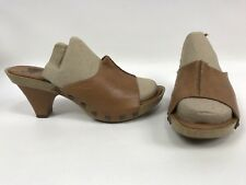 Sofft Studded Wood Sandals Mules Shoes Leather Womens Size 8.5 1217915