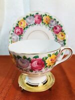"Vintage Gladstone  Tea/coffe Cup & Saucer ""Rosemary"" Bone China/England"
