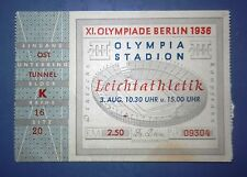 1936 Berlin Germany Nazi Olympic Ticket 3.8.1936 Jesse Owens 1st gold medal RARE