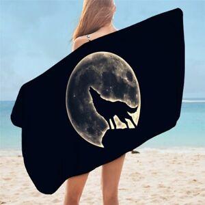 Wolf Bath Towel Bathroom Microfiber Native Tribal Animal Large Beach Towels