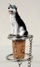 Husky Black White Blue Eyes Dog Hand Painted Resin Figurine Wine Bottle Stopper