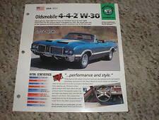 USA 1972 Oldsmobile 4-4-2 W-30 Hot Cars Group 4 # 44 Spec Sheet Brochure