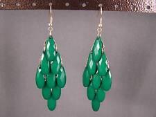 """Dk Green faceted bead beaded chandelier dangle earrings 3.5"""" long lightweight"""