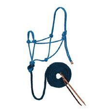 Weaver Hurricane Blue Dark Red and Navy Rope Halter with Lead