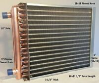 """18x18 Water to Air Heat Exchanger~~1"""" Copper Ports w/ EZ Install Front Flange"""
