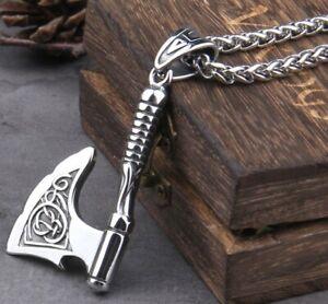 Large Axe Hammer Stainless Steel Viking Long Heavy Chain Necklace/Bottle Opener