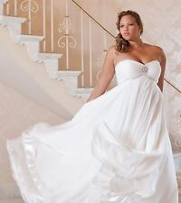 Simple Chiffon Plus Size Wedding Dress Formal High Waist Lace up Back Crystals