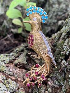 Cartier Paris 18K Ruby Diamond Turquoise Peacock Bird Pin Brooch 2.25 TCW 1920s