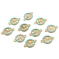 10pcs Life Tree Inlaid Beads Connector Alloy Charms DIY Jewelry Making 20*13mm