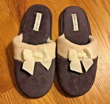 Laura Ashley Women's Slippers Size 7 M - Gray with Cream Trim - New