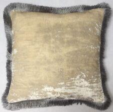 Kissen Anke Drechsel Luxus Designer PLAIN Fringe Silver Pillow Almohada Cushion