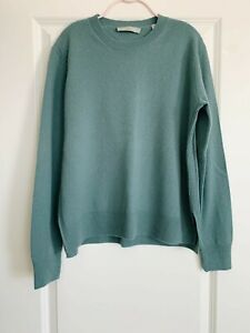 Vince Sea Green Boxy Crewneck Cashmere Sweater in Size Small