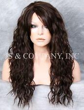 Heat Resistant Long Curly Wavy Full Body Wig Dark Brown HSP 4