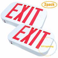 NEW 2 PACK SMD LED Exit Emergency Sign Light Red Letter Battery Back-up