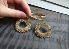 LARGE SPARKLY CRYSTAL EARRINGS round glass RHINESTONE bracelet GOLD FASHION
