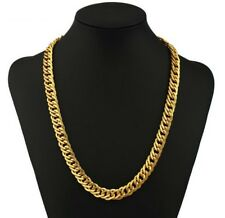 Heavy Mens 56cm Necklace Gold Filled Snake Curb Link Chain Geometric 22 inch N61