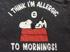 "Peanuts Snoopy ""I Think I'm Allergic to Mornings"" Men's Charcoal Gray T-Shirt M"
