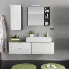 Badezimmer 4-teiliges Set Beach Badmöbel weiß Hochglanz und grau mit Waschbecken