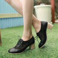 Women's Oxfords Brogue Lace Ups Breathable Lace Block Mid Heel Shoes Pumps 34-43