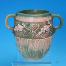 Roseville Art Pottery - Experimental Vase - Pink Blossoms - Handled - 6 inches