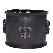 Royalty Collection Fleur de Lis CZ Black Leather Bracelet