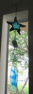 Wind Chime- STARFISH- blue purple colors -metal glass -seashell- glass chimes