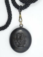 "VICTORIAN MOURNING GUTTA PERCHA CAMEO LOCKET FRENCH JET LONGUARD 52"" NECKLACE"