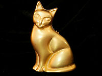 Extra Large & VERY Lovely Vintage 80's Repousse Gold Tone Cat Brooch 250F7