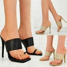 Womens Padded High Heels Sandals Mules Toe Loop Soft Comfy Fashion Party Sandals