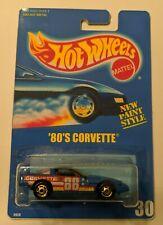 1990's Hot Wheels Solid Blue Pack Card  '80's Corvette ON CUSTOM CARD CLONE!