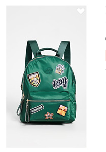 Tory Burch NEW Tilda Patches Zip Backpack Malachite Green Bookbag Logo Authentic