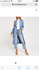 RIVER ISLAND COAT LIGHT BLUE LONG LINE COAT JACKET UK 10 SOLD OUT NEW TAGS