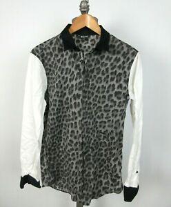 JUST CAVALLI Roberto Leopard Print Sz 46 IT 36 US Small Shirt Cotton Stretch
