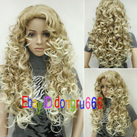 NEW Women wig long blonde mixed Curly wavy Cosplay party High quality wigs