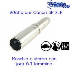 ADATTATORE CANON DA 3P XLR MASCHIO A STEREO 6.3 FEMMINA JACK