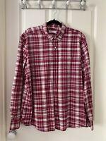 Trenery Red Check Cotton Long sleeve Men's Shirt Size XXL