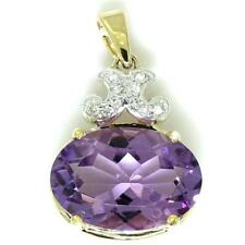 7.0ct Amethyst & 10 Diamond 9ct 375 Solid Gold Pendant - 30 Day Returns