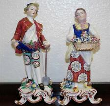 Royal Derby English Painted Porcelain Figurines of Flower & Grape Seller C. 1900