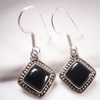 Black Onyx Squares with Silver Dot Accents 925 Sterling Silver Dangle Earrings