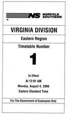 Norfolk Southern Railroad Virginia Division Timetable Reprint